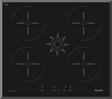 Top view of Baumatic induction hob plate
